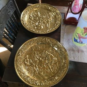 Vintage '60s Large Faux Brass Wall Hangings